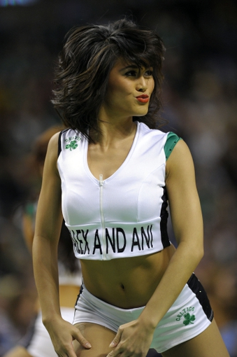 Apr 4, 2014; Boston, MA, USA; The Boston Celtics cheerleaders perform during the second half against the Philadelphia 76ers at TD Garden. Mandatory Credit: Bob DeChiara-USA TODAY Sports