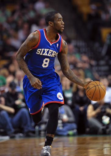 Apr 4, 2014; Boston, MA, USA; Philadelphia 76ers guard Tony Wroten (8) dribbles the ball during the first half against the Boston Celtics at TD Garden. Mandatory Credit: Bob DeChiara-USA TODAY Sports