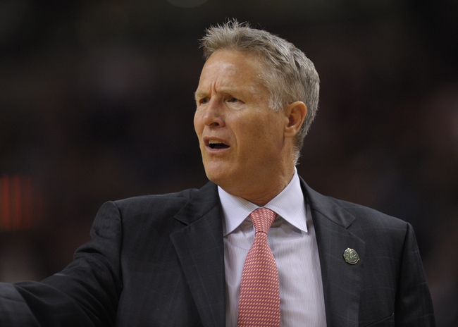 Apr 4, 2014; Boston, MA, USA; Philadelphia 76ers head coach Brett Brown reacts during the second half against the Boston Celtics at TD Garden. Mandatory Credit: Bob DeChiara-USA TODAY Sports