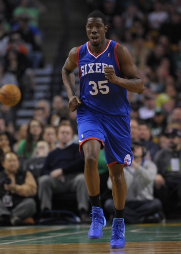 Apr 4, 2014; Boston, MA, USA; Philadelphia 76ers center Henry Sims (35) runs down the court after making a basket during the second half against the Boston Celtics at TD Garden. Mandatory Credit: Bob DeChiara-USA TODAY Sports