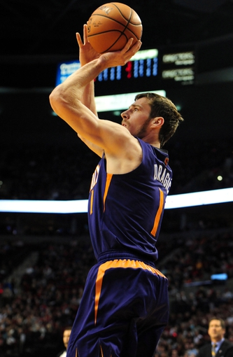 Apr 4, 2014; Portland, OR, USA;Phoenix Suns guard Goran Dragic (1) shoots the ball during the first quarter of the game against the Portland Trail Blazers at Moda Center. Mandatory Credit: Steve Dykes-USA TODAY Sports