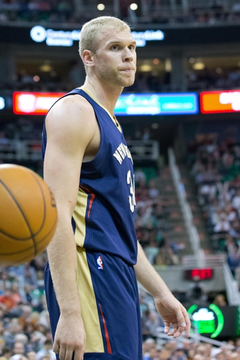 Apr 4, 2014; Salt Lake City, UT, USA; New Orleans Pelicans center Greg Stiemsma (34) reacts to a call during the second half against the Utah Jazz at EnergySolutions Arena. The Jazz won 100-96. Mandatory Credit: Russ Isabella-USA TODAY Sports