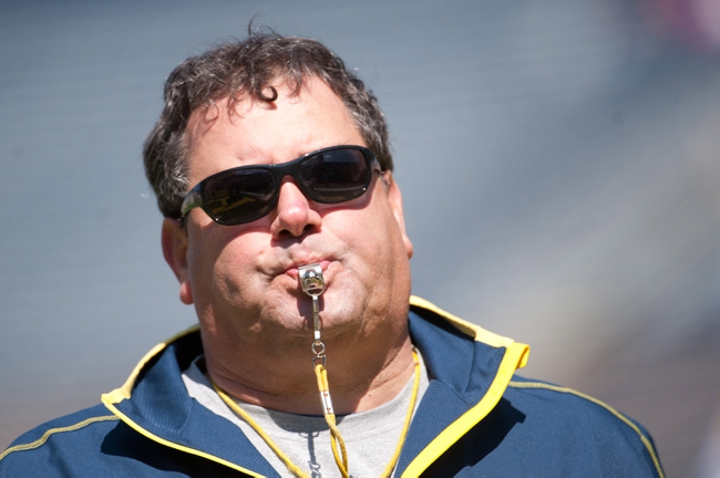 Apr 5, 2014; Ann Arbor, MI, USA; Michigan Wolverines head coach Brady Hoke during the Spring Game at Michigan Stadium. Mandatory Credit: Tim Fuller-USA TODAY Sports