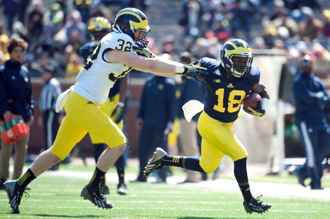 Apr 5, 2014; Ann Arbor, MI, USA; Michigan Wolverines safety Shaun Austin (32) defends against running back Antonio Whitfield (18) during the Spring Game at Michigan Stadium. Mandatory Credit: Tim Fuller-USA TODAY Sports