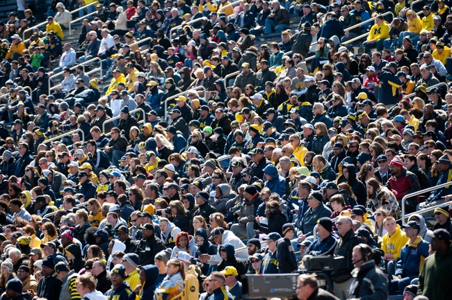 Apr 5, 2014; Ann Arbor, MI, USA; A general view of the Michigan Wolverines fans during the Spring Game at Michigan Stadium. Mandatory Credit: Tim Fuller-USA TODAY Sports