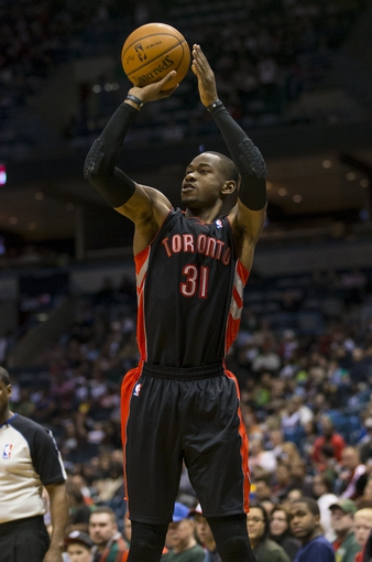 Apr 5, 2014; Milwaukee, WI, USA; Toronto Raptors forward Terrence Ross (31) shoots the ball during the second quarter against the Milwaukee Bucks at BMO Harris Bradley Center. Mandatory Credit: Jeff Hanisch-USA TODAY Sports
