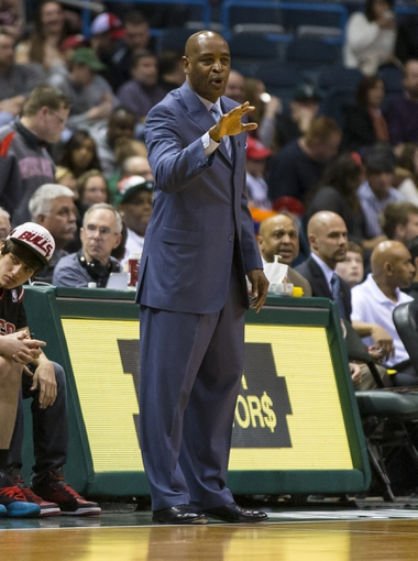 Apr 5, 2014; Milwaukee, WI, USA; Milwaukee Bucks head coach Larry Drew looks on from the sidelines during the second quarter against the Toronto Raptors at BMO Harris Bradley Center. Mandatory Credit: Jeff Hanisch-USA TODAY Sports