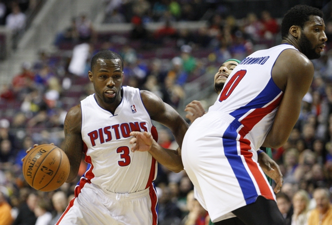 Apr 5, 2014; Auburn Hills, MI, USA; Detroit Pistons guard Rodney Stuckey (3) dribbles the ball against Boston Celtics guard Jerryd Bayless (11) during the fourth quarter at The Palace of Auburn Hills. Pistons beat the Celtics 115-111. Mandatory Credit: Raj Mehta-USA TODAY Sports