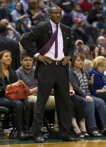 Apr 5, 2014; Milwaukee, WI, USA; Toronto Raptors head coach Dwane Casey looks on from the sidelines during the third quarter against the Milwaukee Bucks at BMO Harris Bradley Center. Mandatory Credit: Jeff Hanisch-USA TODAY Sports