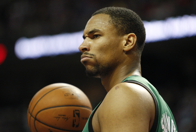 Apr 5, 2014; Auburn Hills, MI, USA; Boston Celtics center Jared Sullinger (7) reacts to a call during the third quarter against the Detroit Pistons at The Palace of Auburn Hills. Pistons beat the Celtics 115-111. Mandatory Credit: Raj Mehta-USA TODAY Sports