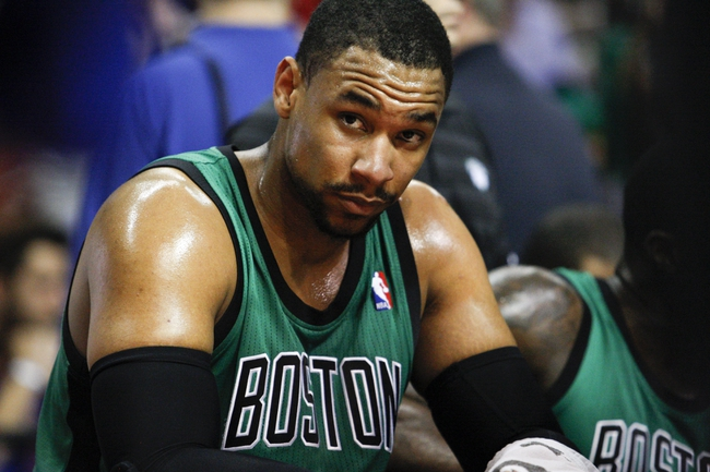 Apr 5, 2014; Auburn Hills, MI, USA; Boston Celtics center Jared Sullinger (7) on the bench during the third quarter against the Detroit Pistons at The Palace of Auburn Hills. Pistons beat the Celtics 115-111. Mandatory Credit: Raj Mehta-USA TODAY Sports