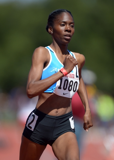 Apr 5, 2014; Stanford, CA, USA; Dominique Jackson runs in a womens 800m heat in the 2014 Stanford Invitational at Cobb Track & Angell  Field. Mandatory Credit: Kirby Lee-USA TODAY Sports