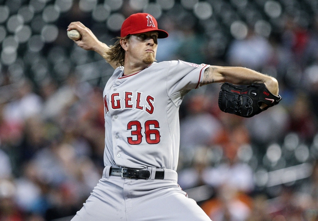 Apr 6, 2014; Houston, TX, USA; Los Angeles Angels starting pitcher Jered Weaver (36) pitches during the first inning against the Houston Astros at Minute Maid Park. Mandatory Credit: Troy Taormina-USA TODAY Sports