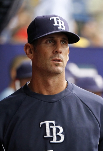 Apr 6, 2014; St. Petersburg, FL, USA; Tampa Bay Rays relief pitcher Grant Balfour (50) in the dugout against the Texas Rangers at Tropicana Field. Texas Rangers defeated the Tampa Bay Rays 3-0. Mandatory Credit: Kim Klement-USA TODAY Sports