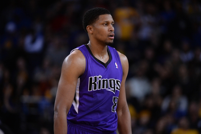 April 4, 2014; Oakland, CA, USA; Sacramento Kings forward Rudy Gay (8) looks on against the Golden State Warriors during the third quarter at Oracle Arena. The Warriors defeated the Kings 102-69. Mandatory Credit: Kyle Terada-USA TODAY Sports