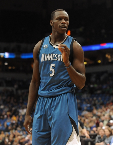 Apr 2, 2014; Minneapolis, MN, USA;  Minnesota Timberwolves center Gorgui Dieng (5) in the first half against the Memphis Grizzlies at Target Center. The Wolves defeated the Grizzlies 102-88.  Mandatory Credit: Marilyn Indahl-USA TODAY Sports