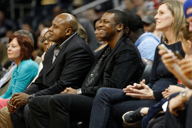 Apr 8, 2014; Atlanta, GA, USA; Actor and entertainer Chris Tucker watches a game between the Detroit Pistons and Atlanta Hawks in the fourth quarter at Philips Arena. Mandatory Credit: Brett Davis-USA TODAY Sports