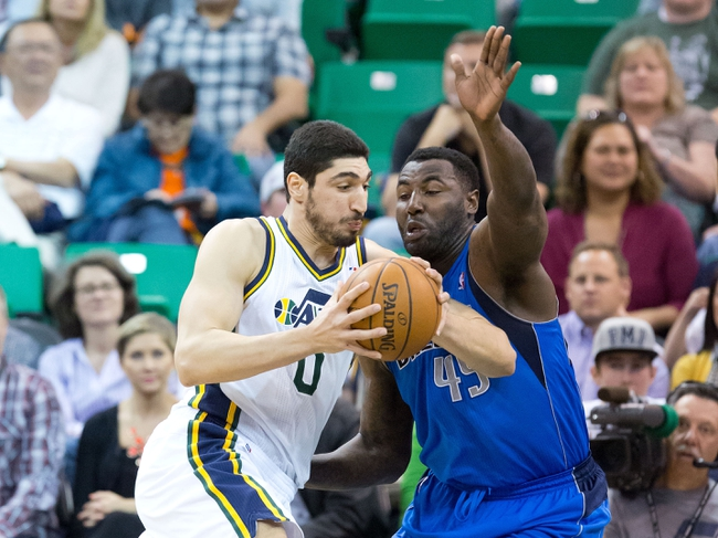 Apr 8, 2014; Salt Lake City, UT, USA; Dallas Mavericks center DeJuan Blair (45) defends against Utah Jazz center Enes Kanter (0) during the first half at EnergySolutions Arena. Mandatory Credit: Russ Isabella-USA TODAY Sports