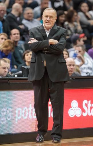 Apr 8, 2014; Minneapolis, MN, USA; Minnesota Timberwolves head coach Rick Adelman in the third quarter against the San Antonio Spurs at Target Center. The Minnesota Timberwolves win 110-91. Mandatory Credit: Brad Rempel-USA TODAY Sports