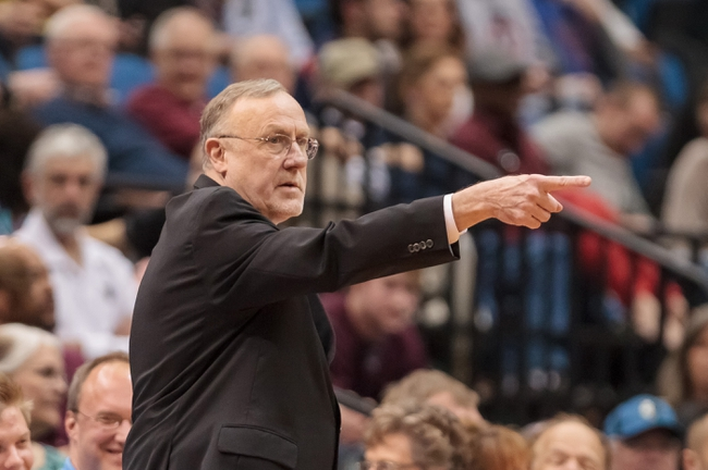 Apr 8, 2014; Minneapolis, MN, USA; Minnesota Timberwolves head coach Rick Adelman in the fourth quarter against the San Antonio Spurs at Target Center. The Minnesota Timberwolves win 110-91. Mandatory Credit: Brad Rempel-USA TODAY Sports