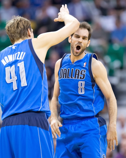 Apr 8, 2014; Salt Lake City, UT, USA; Dallas Mavericks forward Dirk Nowitzki (41) and guard Jose Calderon (8) react during the second half against the Utah Jazz at EnergySolutions Arena. The Mavericks won 95-83. Mandatory Credit: Russ Isabella-USA TODAY Sports