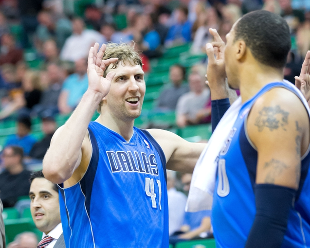 Apr 8, 2014; Salt Lake City, UT, USA; Dallas Mavericks forward Dirk Nowitzki (41) leaves the game late in the fourth quarter against the Utah Jazz at EnergySolutions Arena. The Mavericks won 95-83. Mandatory Credit: Russ Isabella-USA TODAY Sports