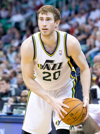 Apr 8, 2014; Salt Lake City, UT, USA; Utah Jazz guard Gordon Hayward (20) controls the ball during the second half against the Dallas Mavericks at EnergySolutions Arena. The Mavericks won 95-83. Mandatory Credit: Russ Isabella-USA TODAY Sports