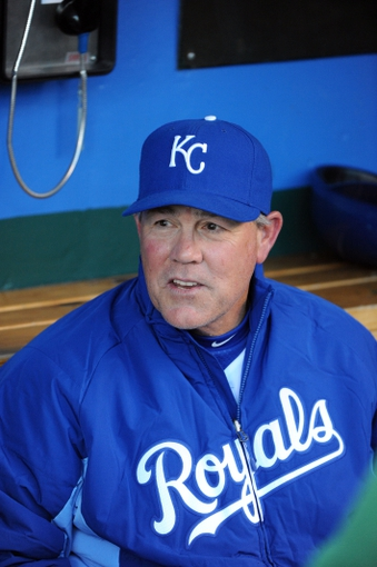 Apr 8, 2014; Kansas City, MO, USA; Kansas City Royals manager Ned Yost in the dugout before the game against the Tampa Bay Rays at Kauffman Stadium. Tampa Bay won the game 1-0. Mandatory Credit