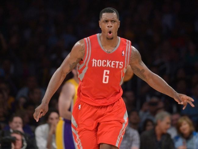 Apr 8, 2014; Los Angeles, CA, USA; Houston Rockets forward Terrence Jones (6) celebrates during the game against the Los Angeles Lakers at Staples Center. Mandatory Credit: Kirby Lee-USA TODAY Sports