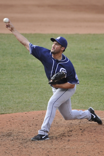 Apr 9, 2014; Cleveland, OH, USA; San Diego Padres relief pitcher Huston Street (16) throws the ball in the ninth inning against the Cleveland Indians at Progressive Field. Mandatory Credit: David Richard-USA TODAY Sports