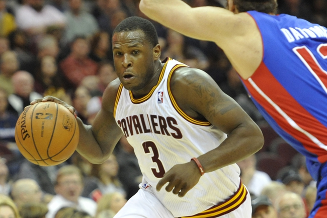 Apr 9, 2014; Cleveland, OH, USA; Cleveland Cavaliers guard Dion Waiters (3) dribbles the ball against the Detroit Pistons in the fourth quarter at Quicken Loans Arena. Mandatory Credit: David Richard-USA TODAY Sports