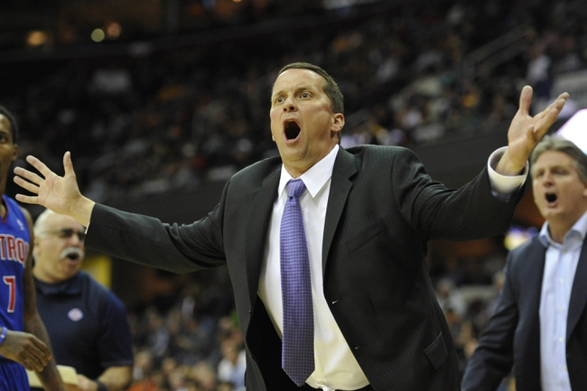 Apr 9, 2014; Cleveland, OH, USA; Detroit Pistons head coach John Loyer reacts from the sidelines in the third quarter against the Cleveland Cavaliers at Quicken Loans Arena. Mandatory Credit: David Richard-USA TODAY Sports