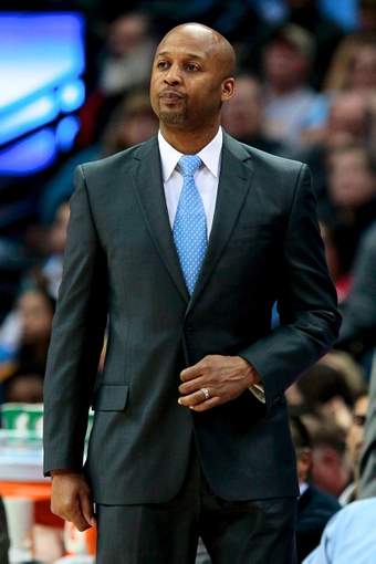 Apr 9, 2014; Denver, CO, USA; Denver Nuggets head coach Brian Shaw in the second quarter against the Houston Rockets at the Pepsi Center. Mandatory Credit: Isaiah J. Downing-USA TODAY Sports