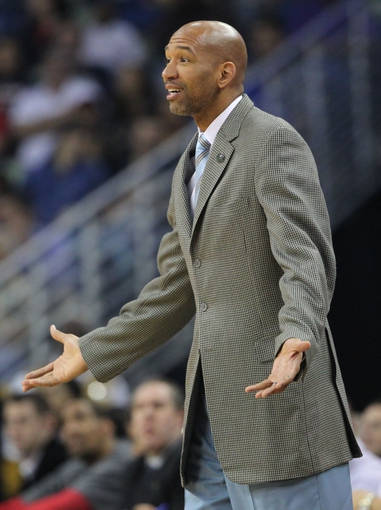 Apr 9, 2014; New Orleans, LA, USA; New Orleans Pelicans head coach Monty Williams reacts from the sidelines in the first half against the Phoenix Suns at the Smoothie King Center. The Suns won 94-88. Mandatory Credit: Crystal LoGiudice-USA TODAY Sports