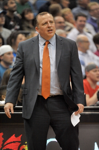 Apr 9, 2014; Minneapolis, MN, USA;  Chicago Bulls head coach Tom Thibodeau reacts to a call in the second half against the Minnesota Timberwolves at Target Center.  The Bulls defeated the Wolves 102-87.  Mandatory Credit: Marilyn Indahl-USA TODAY Sports