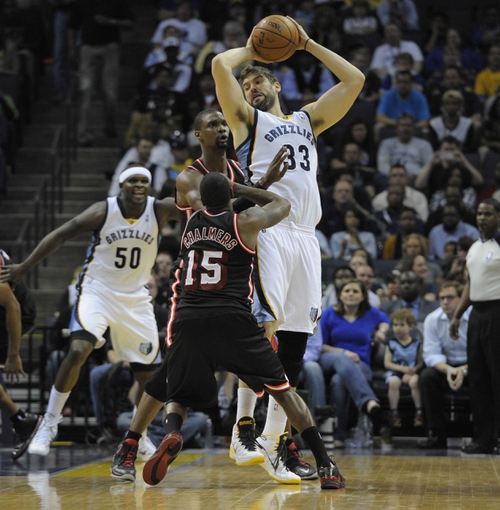 Apr 9, 2014; Memphis, TN, USA; Memphis Grizzlies center Marc Gasol (33) handles the ball during the game against Miami Heat center Chris Bosh (1) at FedExForum. Memphis Grizzlies beat the Miami Heat 107 - 102. Mandatory Credit: Justin Ford-USA TODAY Sports