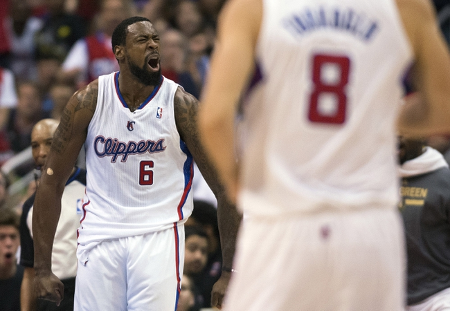 Apr 9, 2014; Los Angeles, CA, USA; Los Angeles Clippers center DeAndre Jordan (6) reacts after scoring against the Oklahoma City Thunder during the second quarter at Staples Center. Mandatory Credit: Kelvin Kuo-USA TODAY Sports