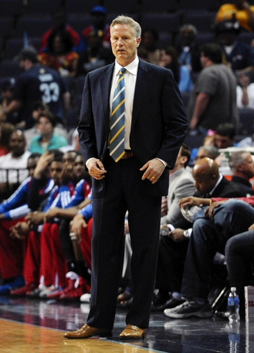 Apr 11, 2014; Memphis, TN, USA; Philadelphia 76ers head coach Brett Brown during the game against the Memphis Grizzlies at FedExForum. Mandatory Credit: Justin Ford-USA TODAY Sports
