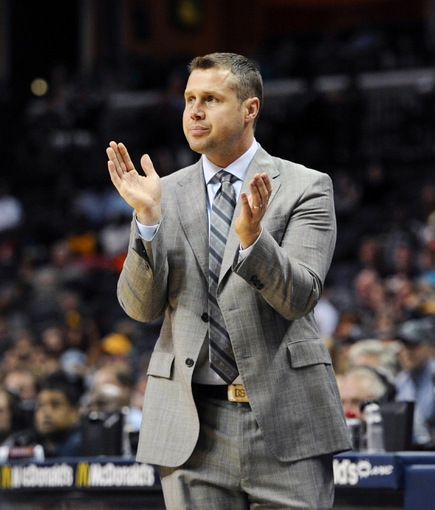 Apr 11, 2014; Memphis, TN, USA; Memphis Grizzlies head coach David Joerger during the game against the Philadelphia 76ers at FedExForum. Mandatory Credit: Justin Ford-USA TODAY Sports