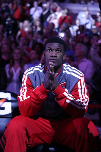 Apr 11, 2014; Chicago, IL, USA; Chicago Bulls guard Jimmy Butler (21) on the bench prior to the first quarter against the Detroit Pistons at the United Center. Mandatory Credit: Dennis Wierzbicki-USA TODAY Sports