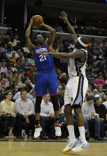 Apr 11, 2014; Memphis, TN, USA; Philadelphia 76ers forward Thaddeus Young (21) shoots over Memphis Grizzlies forward Zach Randolph (50) during the game at FedExForum. Memphis Grizzlies beat Philadelphia 76ers 117 - 95. Mandatory Credit: Justin Ford-USA TODAY Sports