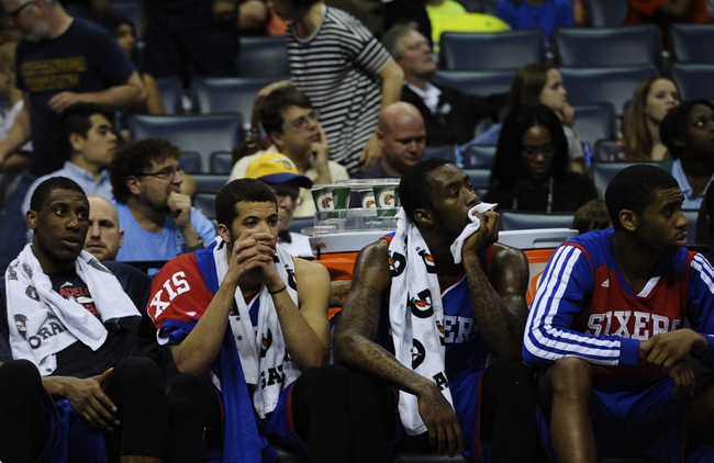 Apr 11, 2014; Memphis, TN, USA; Philadelphia 76ers bench during the game against the Memphis Grizzlies at FedExForum. Memphis Grizzlies beat Philadelphia 76ers 117 - 95. Mandatory Credit: Justin Ford-USA TODAY Sports