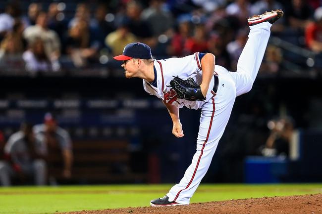 Apr 11, 2014; Atlanta, GA, USA; Atlanta Braves relief pitcher Craig Kimbrel (46) pitches in the ninth inning against the Washington Nationals at Turner Field. Mandatory Credit: Daniel Shirey-USA TODAY Sports