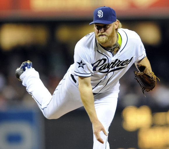 Apr 11, 2014; San Diego, CA, USA; San Diego Padres starting pitcher Andrew Cashner (34) throws during the sixth inning against the Detroit Tigers at Petco Park. Mandatory Credit: Christopher Hanewinckel-USA TODAY Sports