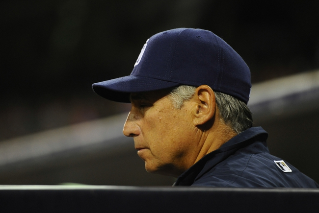 Apr 11, 2014; San Diego, CA, USA; San Diego Padres manager Bud Black (20) looks on during the sixth inning against the Detroit Tigers at Petco Park. Mandatory Credit: Christopher Hanewinckel-USA TODAY Sports