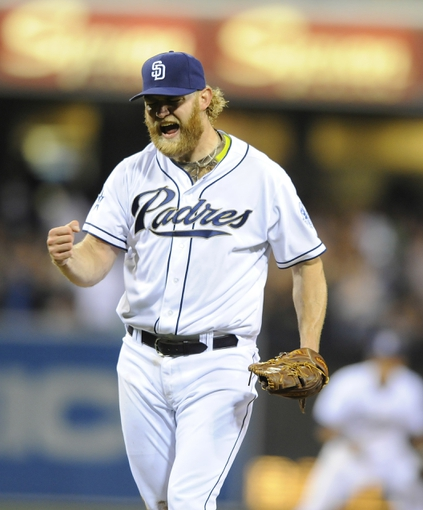 Apr 11, 2014; San Diego, CA, USA; San Diego Padres starting pitcher Andrew Cashner (34) celebrates after throwing a complete game one hitter against the Detroit Tigers at Petco Park. The Padres won 6-0. Mandatory Credit: Christopher Hanewinckel-USA TODAY Sports
