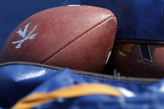 Apr 12, 2014; Charlottesville, VA, USA; Footballs rest in a bag on the sidelines during the Cavaliers Spring Game at Scott Stadium. Mandatory Credit: Geoff Burke-USA TODAY Sports