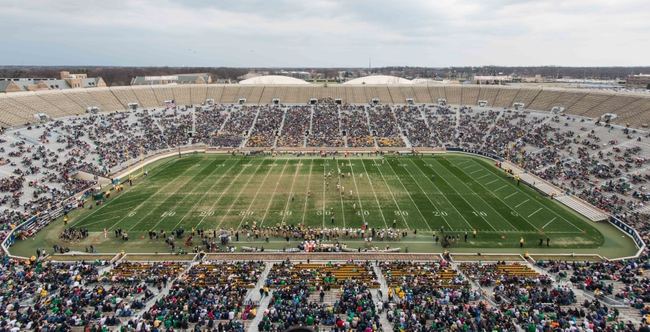 Apr 12, 2014; Notre Dame, IN, USA; A general view of the Notre Dame Stadium during the Blue-Gold game. Mandatory Credit: Matt Cashore-USA TODAY Sports