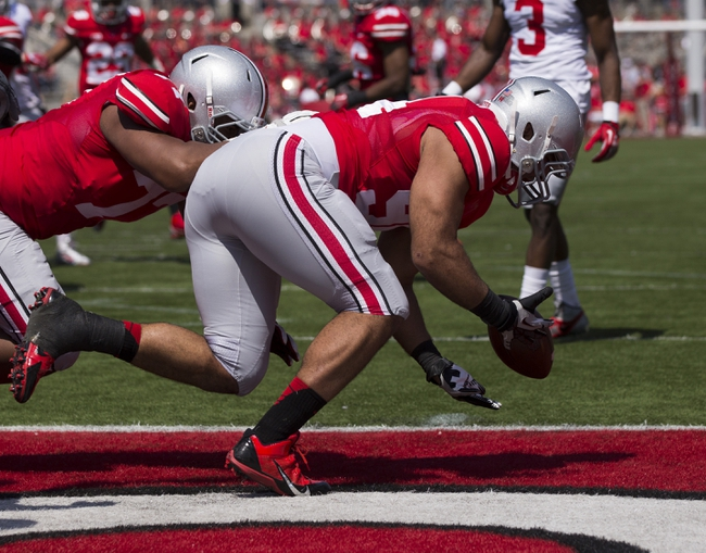 Apr 12, 2014; Columbus, OH, USA; Ohio State scarlet team defensive lineman Rashad Frazier (94) recovers a fumble in the end zone during the Ohio State Buckeyes spring game at Ohio Stadium. The scarlet team won the game 17-7. Mandatory Credit: Greg Bartram-USA TODAY Sports