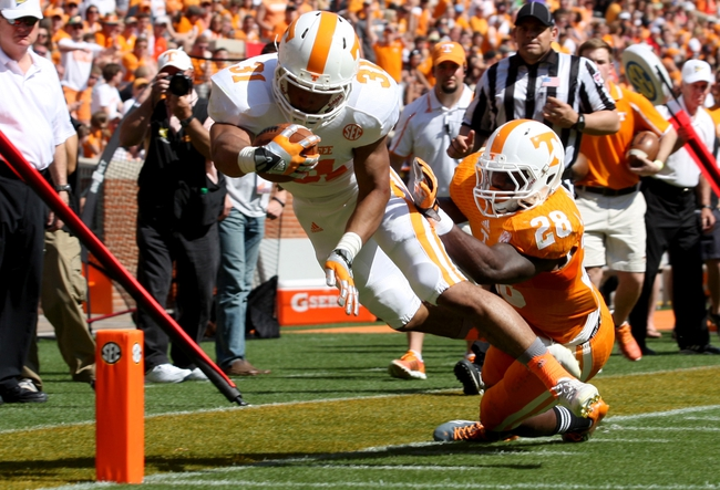 Apr 12, 2014; Knoxville, TN, USA; Tennessee Volunteers running back Justus Pickett (31) scores a touchdown during the orange and white spring game at Neyland Stadium. Mandatory Credit: Randy Sartin-USA TODAY Sports